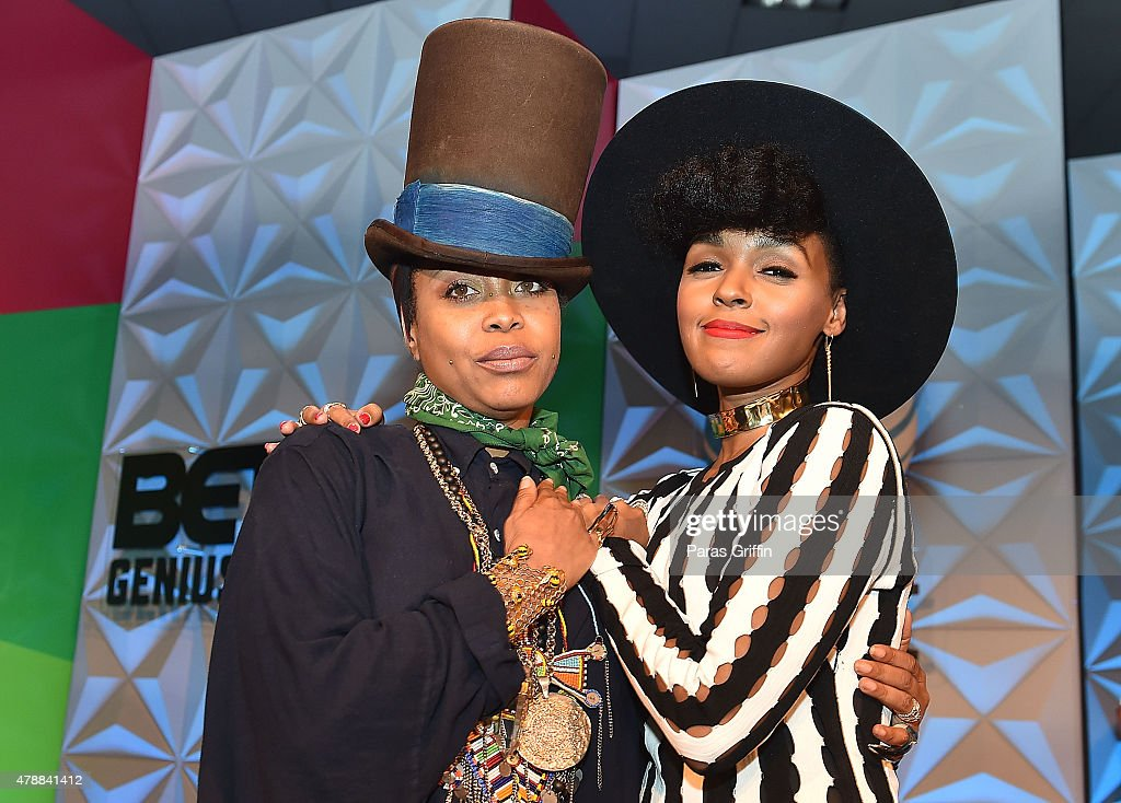 Recording artists Erykah Badu (L) and Janelle Monae attends Genius Talks during the 2015 BET Experience at the Los Angeles Convention Center on June 27, 2015 in Los Angeles, California.