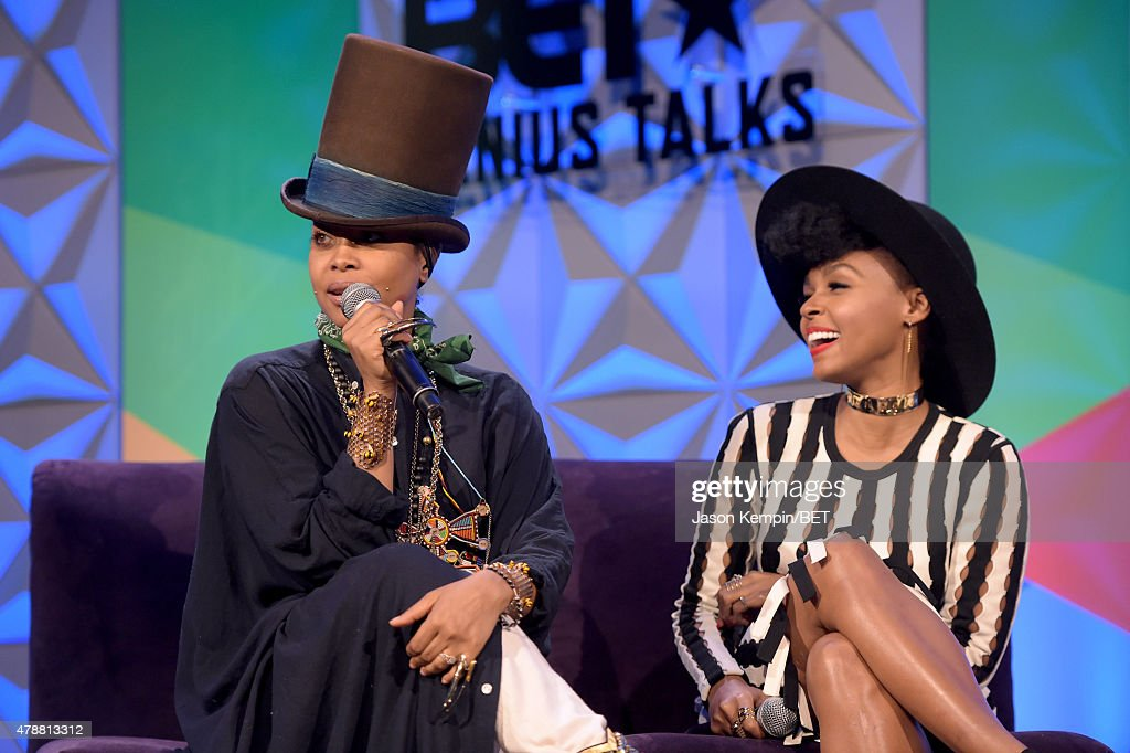 Recording artists Erykah Badu (L) and Janelle Monae speak onstage at the Genius Talks presented by AT&T during the 2015 BET Experience at the Los Angeles Convention Center on June 27, 2015 in Los Angeles, California.