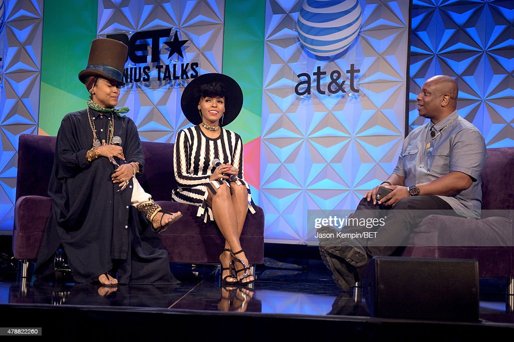 Recording artists Erykah Badu, Janelle Monae and moderator Reggie Osse speak onstage at the Genius Talks presented by AT&T during the 2015 BET Experience at the Los Angeles Convention Center on June 27, 2015 in Los Angeles, California.