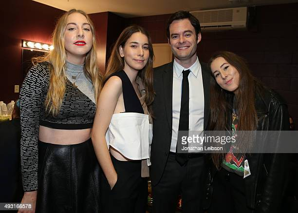 Recording artists Este Haim and Danielle Haim, actor Bill Hader, and recording artist Alana Haim attend Hilarity for Charity's annual variety show:...