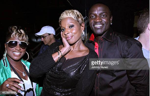 Recording artists Ester Dean Mary J Blige and Akon attend the ''Music Inspired By The Film More Than A Game'' album release party at Marquee Club on...