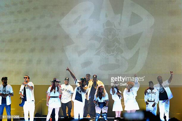 Recording artists Faith Evans Sean Puff Daddy' Combs Lil Kim and Kima Raynor Dyson Pamela Long and Keisha Spivey Epps of TOTAL perform during the Bad...