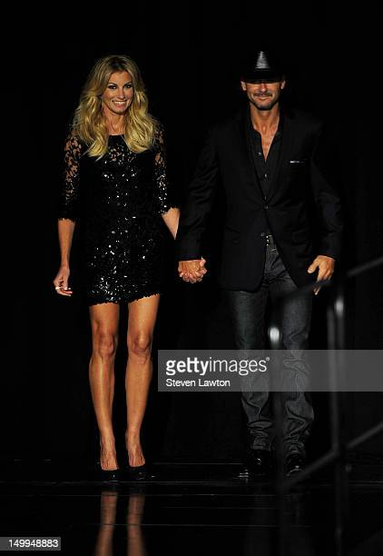 Recording artists Faith Hill and Tim McGraw appear at a news conference announcing their upcoming 'Soul2Soul' performances at The Venetian on August...