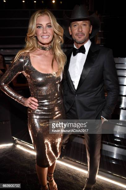 Recording artists Faith Hill and Tim McGraw attend the 52nd Academy Of Country Music Awards at TMobile Arena on April 2 2017 in Las Vegas Nevada