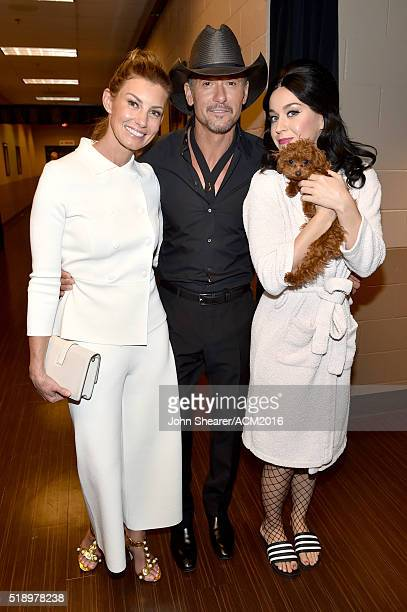 Recording artists Faith Hill Tim McGraw and Katy Perry attend the 51st Academy of Country Music Awards at MGM Grand Garden Arena on April 3 2016 in...