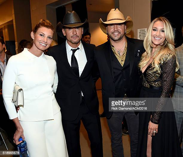 Recording artists Faith Hill Tim McGraw Jason Aldean and Brittany Kerr attend the 51st Academy of Country Music Awards at MGM Grand Garden Arena on...