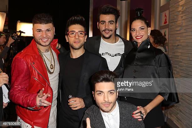 Recording artists Farruko Piero Barone Ignazio Boschetto Gianluca Ginoble of Il Volo and Natalia Jimenez attend the 16th Latin GRAMMY Awards at the...