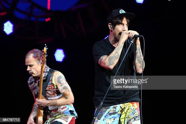 Recording artists Flea and Anthony Kiedis of Red Hot Chili Peppers perform on the Samsung Stage at Lollapalooza 2016 Day 3 at Grant Park on July 30...