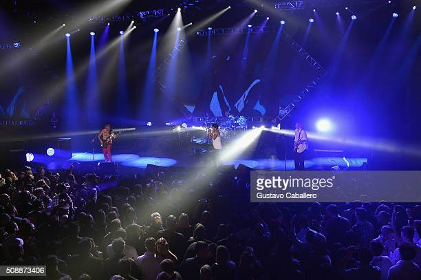 Recording artists Flea Anthony Kiedis Chad Smith and Josh Klinghoffer of Red Hot Chili Peppers perform onstage during DirecTV Super Saturday Night...