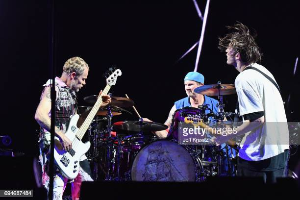 Recording artists Flea Chad Smith and Josh Klinghoffer of Red Hot Chili Peppers perform onstage at What Stage during Day 3 of the 2017 Bonnaroo Arts...