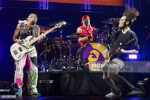 Recording artists Flea Chad Smith and Josh Klinghoffer of the Red Hot Chili Peppers perform in concert during The Getaway World Tour at the ATT...