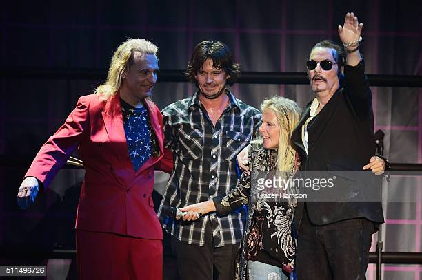 Recording artists Fred Bensi Andy Sisese Dale Bozzio and Prescott Niles of music group Missing Persons perform onstage during the first ever...
