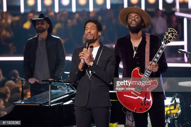 Recording artists Gary Clark Jr and Jon Batiste perform onstage during the 60th Annual GRAMMY Awards at Madison Square Garden on January 28 2018 in...