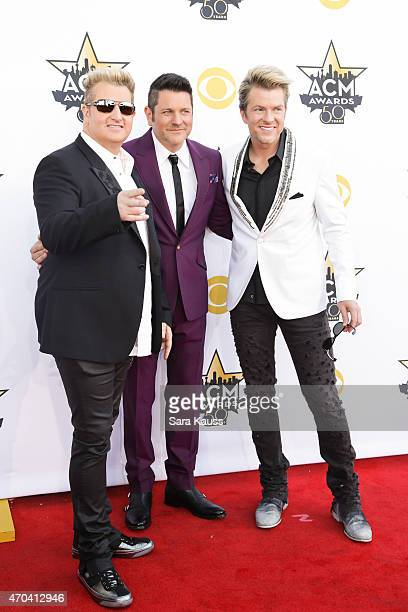 Recording artists Gary LeVox, Jay DeMarcus, and Joe Don Rooney of music group Rascal Flatts attend the 50th Academy of Country Music Awards at AT&T...