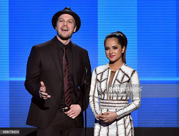 Recording artists Gavin DeGraw and Becky G speak onstage at the 2014 American Music Awards at Nokia Theatre LA Live on November 23 2014 in Los...