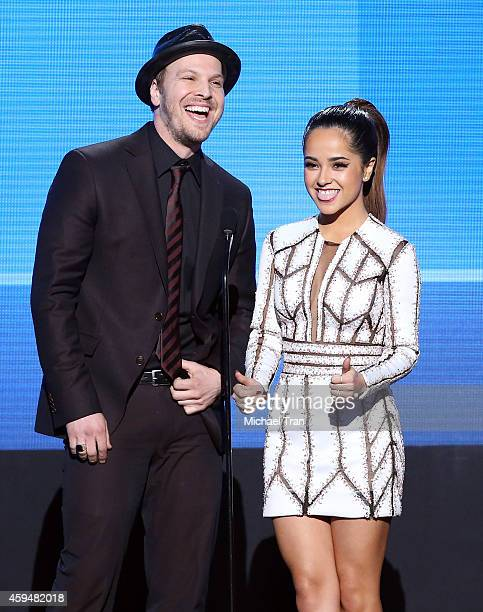 Recording artists Gavin DeGraw and Becky G speak onstage during the 2014 American Music Awards held at Nokia Theatre LA Live on November 23 2014 in...