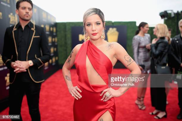 Recording artists G-Eazy and Halsey attend the 2018 MTV Movie And TV Awards at Barker Hangar on June 16, 2018 in Santa Monica, California.