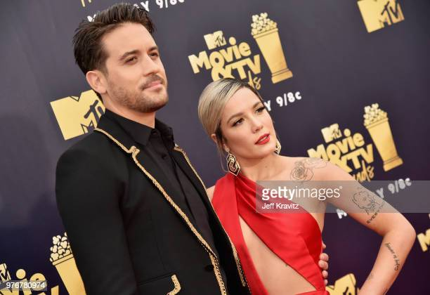 Recording artists GEazy and Halsey attend the 2018 MTV Movie And TV Awards at Barker Hangar on June 16 2018 in Santa Monica California