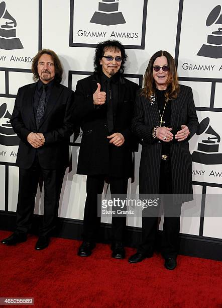 Recording artists Geezer Butler Tony Iommi and Ozzy Osbourne of Black Sabbath attend the 56th GRAMMY Awards at Staples Center on January 26 2014 in...