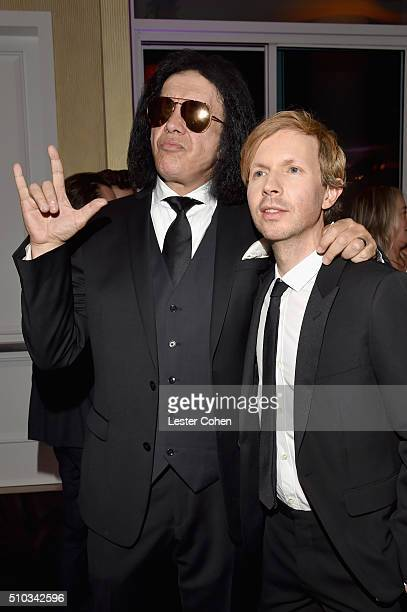 Recording artists Gene Simmons and Beck attend the 2016 PreGRAMMY Gala and Salute to Industry Icons honoring Irving Azoff at The Beverly Hilton Hotel...