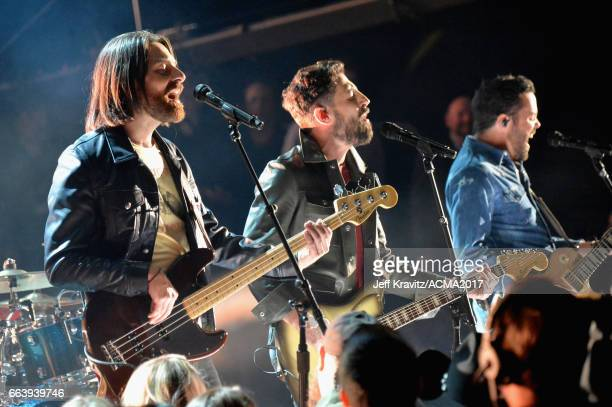 Recording artists Geoff Sprung Matthew Ramsey and Brad Tursi of music group Old Dominion perform onstage at the 52nd Academy Of Country Music Awards...