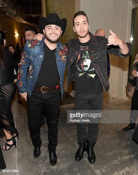 Recording artists Gerardo Ortiz and Prince Royce attend The 17th Annual Latin Grammy Awards at TMobile Arena on November 17 2016 in Las Vegas Nevada