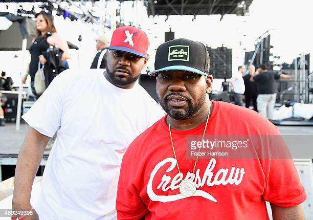 Recording artists Ghostface Killah and Raekwon pose backstage during day 1 of the 2015 Coachella Valley Music Arts Festival at the Empire Polo Club...