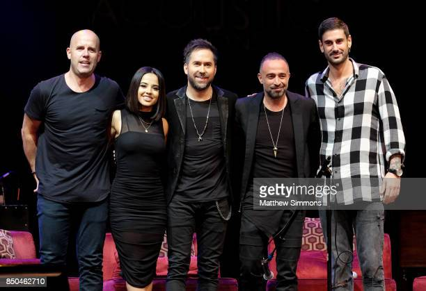 Recording artists Gian Marco Becky G Pablo Hurtado Mario Domm and Melendi pose onstage at the Latin GRAMMY Acoustic Session with Camila and Melendi...