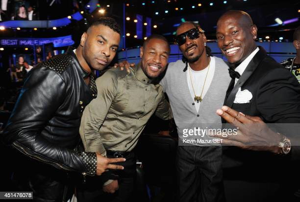 Recording artists Ginuwine Tank Snoop Dogg and Tyrese Gibson attend the BET AWARDS '14 at Nokia Theatre LA LIVE on June 29 2014 in Los Angeles...