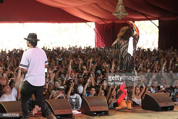 Recording artists Gionardo Burg and AbSoul perform onstage during day 1 of the 2015 Coachella Valley Music Arts Festival at the Empire Polo Club on...