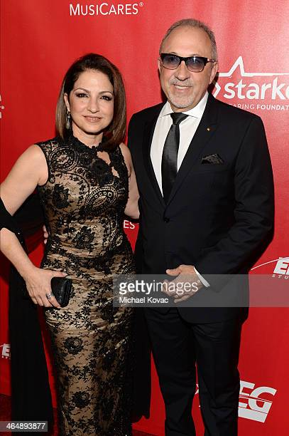 Recording artists Gloria Estefan and Emilio Estefan attend 2014 MusiCares Person Of The Year Honoring Carole King at Los Angeles Convention Center on...