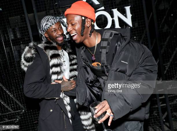 Recording artists Gold Link and Joey Badass attend the Heron Preston Tequila Avion Dance Party in Celebration Of Heron Preston 'Public Figure' at...