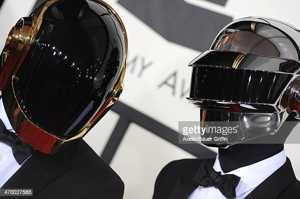 Recording artists GuyManuel de HomemChristo and Thomas Bangalter of Daft Punk arrive at the 56th GRAMMY Awards at Staples Center on January 26 2014...