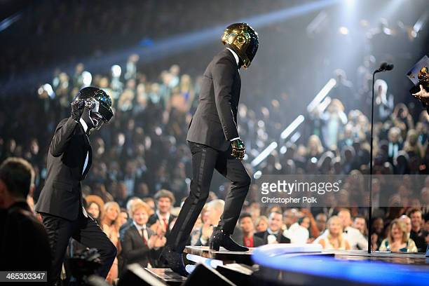 Recording artists GuyManuel de HomemChristo and Thomas Bangalter accepting their award for Best Pop Duo/Group Performance during the 56th GRAMMY...