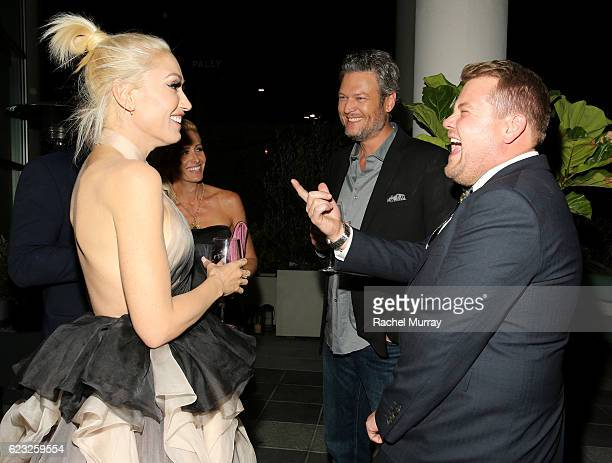 Recording artists Gwen Stefani and Blake Shelton and television personality James Corden attend Glamour Women of the Year 2016 Dinner at Paley on...