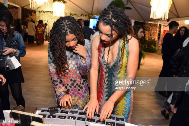 Recording artists Halle Bailey and Chloe Bailey attend GRAMMY Gift Lounge during the 59th GRAMMY Awards at STAPLES Center on February 10, 2017 in Los...