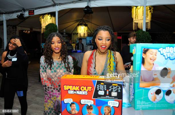 Recording artists Halle Bailey and Chloe Bailey attends GRAMMY Gift Lounge during the 59th GRAMMY Awards at STAPLES Center on February 10, 2017 in...