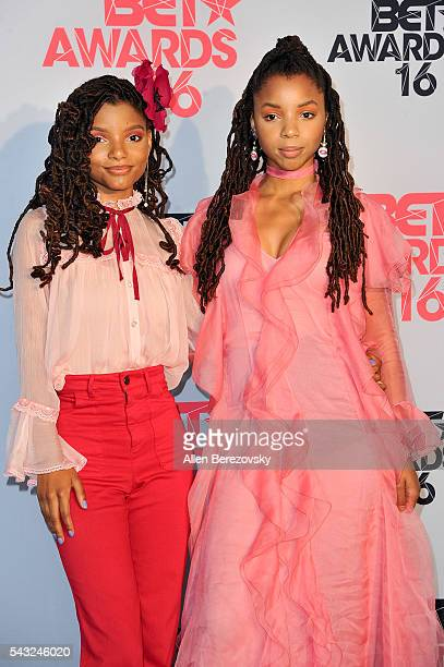 Recording artists Halle Bailey and Chloe Bailey of Chloe X Halle pose for pictures in the press room during the 2016 BET Awards at Microsoft Theater...