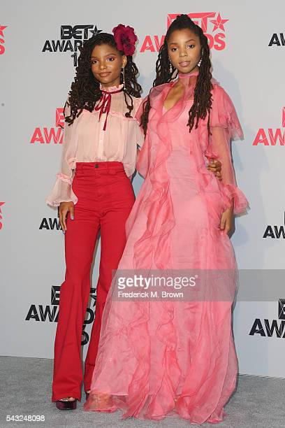 Recording artists Halle Bailey and Chloe Bailey of Chloe X Halle pose in the press room during the 2016 BET Awards at the Microsoft Theater on June...
