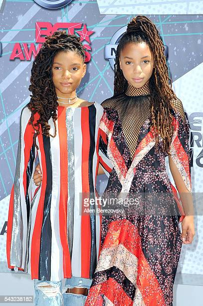 Recording artists Halle Bailey and Chloe Bailey of Chloe X Halle attend the 2016 BET Awards at Microsoft Theater on June 26, 2016 in Los Angeles,...