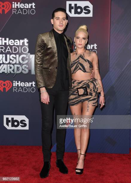 Recording artists Halsey and GEazy attend the 2018 iHeartRadio Music Awards at the Forum on March 11 2018 in Inglewood California