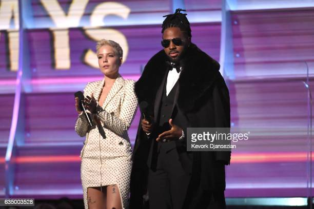 Recording artists Halsey and Jason Derulo speak onstage during The 59th GRAMMY Awards at STAPLES Center on February 12 2017 in Los Angeles California