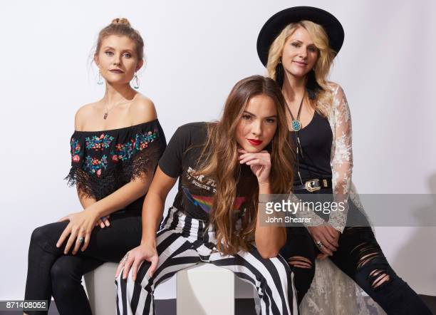 Recording artists Hannah Mulholland Naomi Cooke and Jennifer Wayne of Runaway June pose in the portrait studio at the 2017 CMT Next Women Of Country...