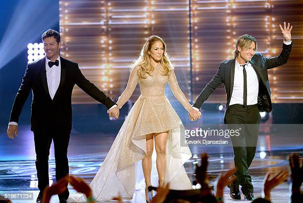 Recording artists Harry Connick Jr Jennifer Lopez and Keith Urban enter onstage during FOX's 'American Idol' Finale For The Farewell Season at Dolby...
