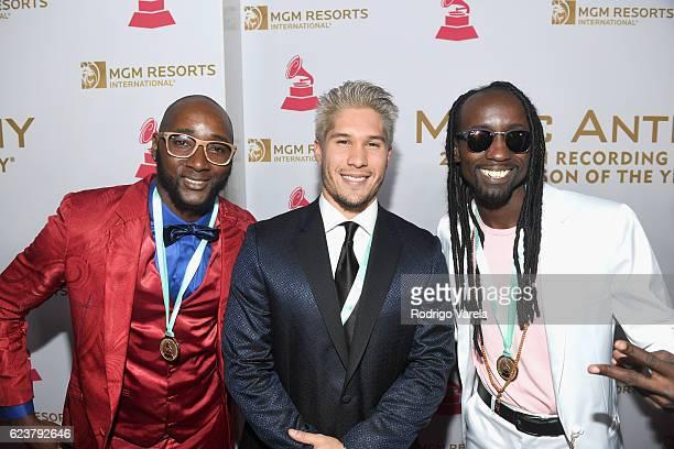 Recording artists Harry Palacios of Explosión Negra Jesus Alberto Miranda Perez of Chino and Lino Agualimpia Murillo of Explosión Negra attend the...