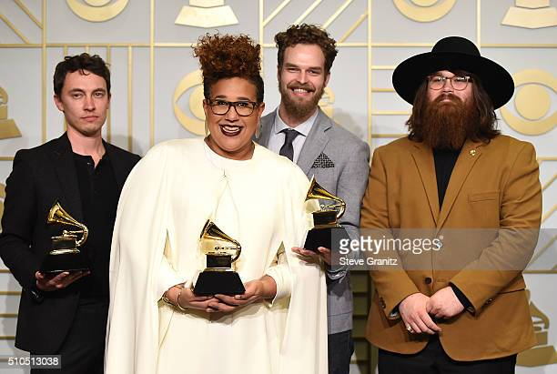 Recording artists Heath Fogg Brittany Howard Steve Johnson and Zac Cockrell of music group Alabama Shakes winners of the Best Rock Performance and...