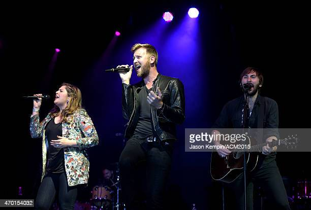 Recording artists Hillary Scott, Charles Kelley and Dave Haywood of music group Lady Antebellum perform onstage during the ACM Lifting Lives Gala at...