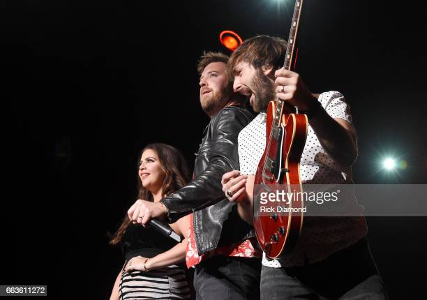 Recording artists Hillary Scott Charles Kelley and Dave Haywood of Lady Antebellum perform onstage during the ACM Party For A Cause The Joint at The...