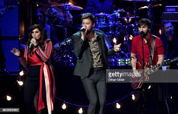 Recording artists Hillary Scott Charles Kelley and Dave Haywood of music group Lady Antebellum perform onstage during the 52nd Academy of Country...