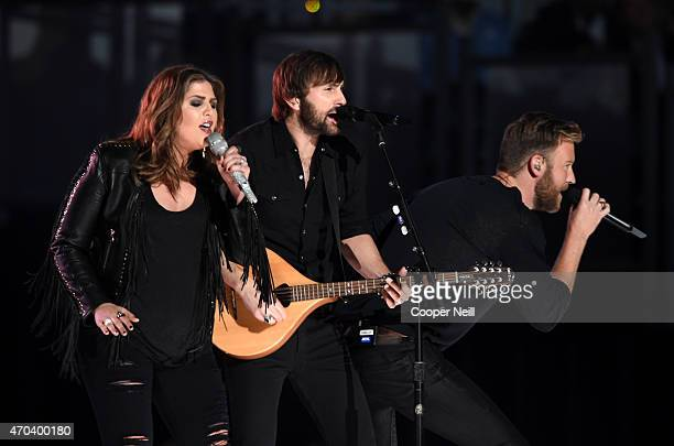 Recording artists Hillary Scott Dave Haywood and Charles Kelley of music group Lady Antebellum perform onstage during the 50th Academy Of Country...